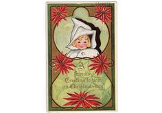 Vintage 1910s Embossed Christmas Postcard Baby Girl in White Bunting Bag Red…