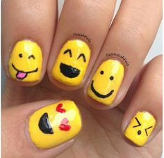 Adorable smiley face nails. ^_^ Instagram photo by polishpals.