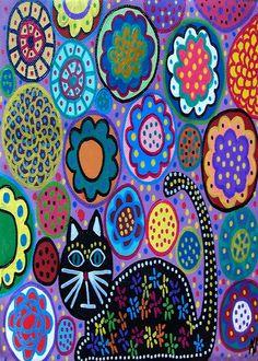 Kerri Ambrosino Mexican Folk Art NEEDLEPOINT Black Cat Lavander Garden Flowers on Etsy, $22.99