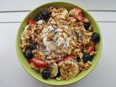 Yogurt, Kashi Honey Almond Flax, banana, strawberries, blueberries, chia seeds