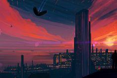 Smoke Break by JoeyJazz on DeviantArt R Wallpaper, Sunset Wallpaper, Wallpaper Online, Original Wallpaper, Cyberpunk City, Futuristic City, 2560x1440 Wallpaper, Anime City, Desktop Background Images