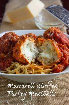 Mozzerella Stuffed Turkey Meatballs