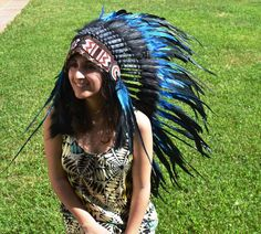 Check out M11-Indian Native American , War bonnet , Medium Electric Blue Feather Headdress (36 inch long ).. on theworldoffeathers