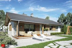 Projekt Alberto - elewacja domu Atrium, Home Fashion, House Plans, New Homes, Home And Garden, Exterior, Cabin, How To Plan, House Styles
