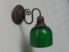 Antique Green Glass Wall Sconce Bar Café Light circa by ilikemikes