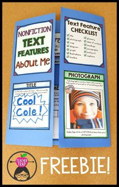 Fun way to teach information text features! Students create a nonfiction text features About Me lapbook! Great for back to school and the beginning of the year. 5th Grade Ela, Third Grade Reading, Second Grade, Fourth Grade, 3rd Grade Centers, 4th Grade Art, Middle School Reading, Reading Skills, Teaching Reading