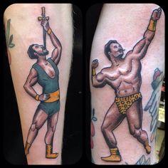 Circus tattoos by @matt_lentz #strongman #swordswalloer #undertheneedletattoo #seatlletattoos