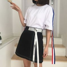 Buy Lyrae Letter A-line Mini Skirt   YesStyle