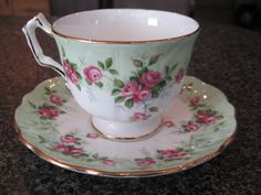 AYNSLEY TEACUP CUP SAUCER WHITE & GREEN w/ SMALL PINK ROSES GOLD TRIM