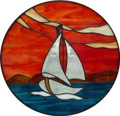 Sailing At Sunset - Delphi Stained Glass. Like the red of the sun set Stained Glass Patterns Free, Faux Stained Glass, Stained Glass Designs, Stained Glass Panels, Stained Glass Projects, Mosaic Art, Mosaic Glass, Glass Boat, Glass Painting Designs