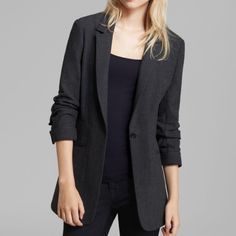 Elizabeth & James Classic Blazer NEW! 3/4 sleeves with ruching on sleeve. Single button closure. 96%wool/4% elastane. Color is charcoal. Elizabeth and James Jackets & Coats Blazers