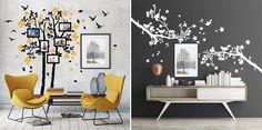 Rami e alberi per un soggiorno decorato al top. Rami, Top, Home Decor, Grey Living Rooms, Vinyls, Decoration Home, Room Decor, Home Interior Design, Crop Shirt