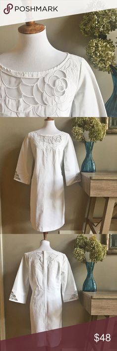 "✨1 Day Only✨Lilly Pulitzer Embroidered Tunic Dress Lilly Pulitzer White Embroidered Tunic Dress. Back zipper with hook and eye. No rips, stains or tears. Beautiful!  Approximate measurements laying flat: armpit to armpit 20"", length shoulder to hem 37"". 100% Cotton. Bundle & Save! Lilly Pulitzer Dresses"
