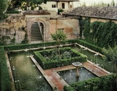 An unprecedented view of the Alhambra. Jean Laurent and Fernando Manso Islamic Architecture, Landscape Architecture, Landscape Design, Spanish Garden, Tuscan Style Homes, Palace Garden, Paradise Garden, Garden Design Plans, Water Features In The Garden