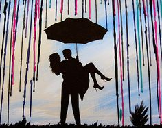 Melted Crayon Art Custom Art Wax Painting Handmade Original Encaustic Painting Silhouette Couple Art Wedding Gift In The Rain Blue Sky 18x24