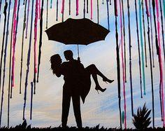 Custom Art cire peinture colorie fondu à la main Original Art peinture encaustique Silhouette Couple Art dans le cadeau de mariage de pluie ciel bleu 18 x 24