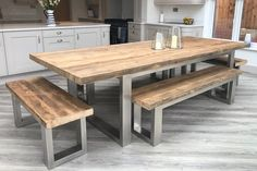 Cavendish Dining Table - Long Overhang Reclaimed Wood and Metal Rustic Dining Table – Eat Sleep Live Reclaimed Wood Dining Table, Wooden Dining Tables, Wooden Bench Table, Wooden Outdoor Table, Natural Wood Dining Table, Outdoor Farmhouse Table, Wood And Metal Table, Stainless Steel Dining Table, Farmhouse Plans