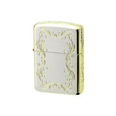 AUTHENTIC ZIPPO ARMOR GOLD ARABESQUE SILVER CASE DOUBLE SIDED 1201S478