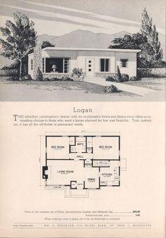 Logan, Practical Homes Ed. Vintage House Plans, Modern House Plans, Small House Plans, House Floor Plans, Vintage Houses, Modern Houses, Building Plans, Building A House, Home Design