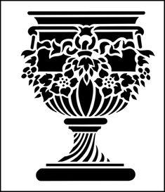 Floral Urn stencil from The Stencil Library GARDEN ROOM range. Buy stencils online. Stencil code GR100.