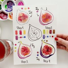Happy Monday :) A new tutorial is here. How to paint yummy and colorful fig, just in 4 simple steps 💜❤🧡 Watercolor Fruit, Easy Watercolor, Watercolour Painting, Watercolor Flowers, Painting & Drawing, Tattoo Watercolor, Watercolor Animals, Watercolor Background, Watercolor Landscape