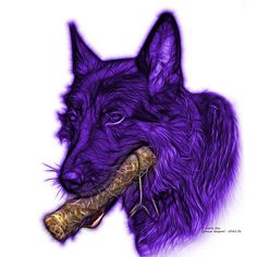 Violet German Shepard and his chew toy. Don't ever take away a German Shepard's chew toy! Argh! German Shepard fractal art by artist James Ahn. 0745 F   All rights reserved.   © Rateitart.com // All Rights Reserved.  All Artwork, Photography, and Designs are copyrighted.  Do not use my works for commercial purposes.  Do not use my works to create derivative works.   Thank You.   #GermanShepard #GermanShepardArt #Dogs #DogLovers #DogLoversWorldwide #PopArt #FractalArt #JamesAhn #Rateitart