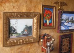 #dollhouse paintings, my aunt did the landscape with house & painted the winter scene