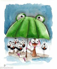 Original Watercolor Folk Art Whimsy Illustration Mouse Bird Crow Umbrella Rain   eBay