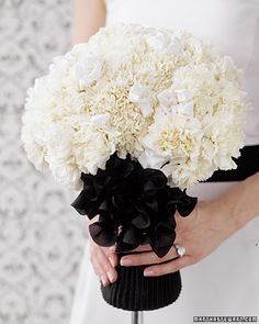 I want to have an all white bouquet, but I am also on a really tight budget. What do you all think o all white, carnation only bouquet? White Wedding Bouquets, Flower Bouquet Wedding, White Weddings, Bridal Bouquets, Boquet, Ribbon Wedding, Bouquet Wrap, Brooch Bouquets, White Carnation Bouquet