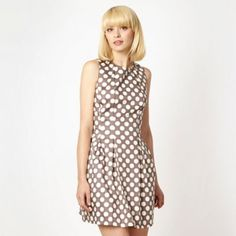 Taupe spotted tulip dress at debenhams.com