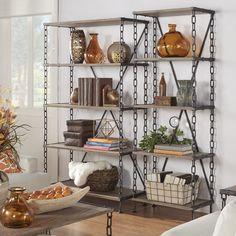 Tribecca Home Blake Chain Link Bookcase Media Tower Metal Shelves, Open Shelving, Storage Shelves, Shelving Decor, Shelf, Marble End Tables, Industrial Office Design, Table Dimensions, New Home Designs