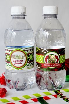 Ugly Christmas Sweater Party Printable Water Bottle Wrappers. A great accent for your Ugly Sweater party.