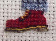 Tiny Doc Martens on a Stitch People portrait. Cross Stitch Borders, Cross Stitch Designs, Cross Stitching, Cross Stitch Embroidery, Cross Stitch Patterns, Crochet Flower Tutorial, Crochet Flowers, Cross Stitch Family, Do It Yourself Crafts