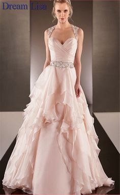 nice Peach Colored Wedding Dresses 2015 A Line Sweetheart Wedding Gowns Beading Ruffles Backless Bridal Dresses Vestido De Noiva