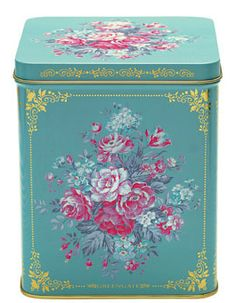 Aqua tin canister