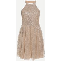 SheIn(sheinside) Halter Sequins Embedded Pleated Dress (41 CAD) ❤ liked on Polyvore featuring dresses, shein, a line dress, halter cocktail dress, sequin halter top, cocktail party dress and halter top