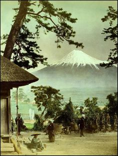 Probably photographed by KIMBEI KUSAKABE, this beautiful view of Fuji is listed in his 1893 Albumen Image Catalog
