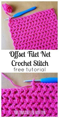 Offset Filet Net Stitch | Free Crochet Tutorial | The Unraveled Mitten | Easy | Beginner Friendly | Basic | Open Crochet Stitches #crochetstitches