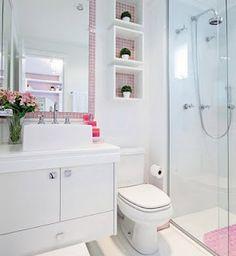 Omit the pink, and this can be great for a small bathroom. Construindo Minha Casa Clean: Banheiros e Lavabos! Decoration Design, Bathroom Interior, Small Bathroom, Bathroom Shelves, Bathroom Storage, White Bathroom, Sink Shelf, Bathroom Ideas, Sweet Home