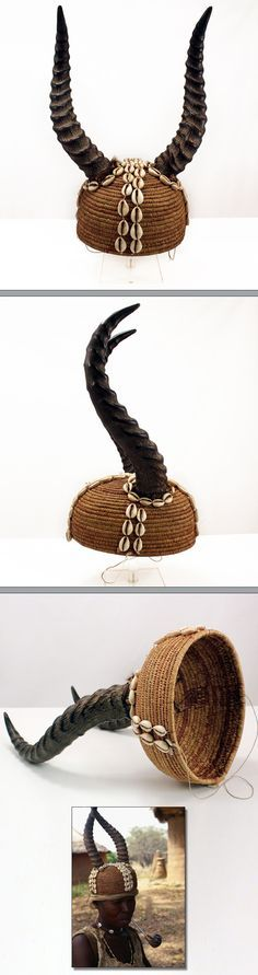 Africa | Headdress from the Moba people of Togo; rattan, horns, string and cowrie shells