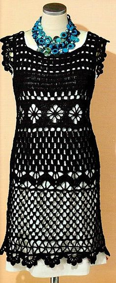 Black Lace Dress free crochet graph pattern