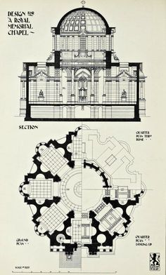 Section and plan for a projected Royal Memorial Chapel, London