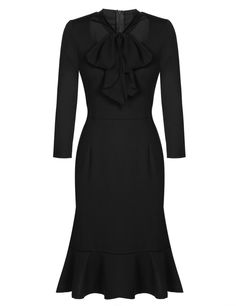 Vintage Style Pencil Lace-up Bow Square Collar Work Dress