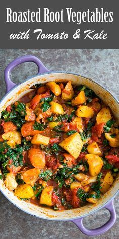 Roasted Root Vegetables with Tomatoes and Kale! A ragout of roasted root vegetables—parsnips, carrots, beets, rutabagas—with tomatoes and kale On SimplyRecipes.com #rootvegetables #paleo #vegan #glutenfree