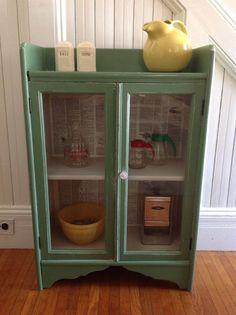 farmhouse cabinets | VINTAGE GREEN CABINET American Farmhouse Wood Glass Doors c1900 ...
