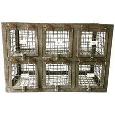 Antique Industrial Steel Wirework Numbered Lockers
