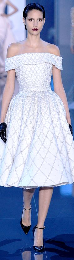 Ralph & Russo Fall 2014-2015 Couture Collection | prism motifs | white | off shoulder dress