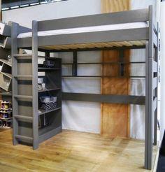 Lit ado mezzanine avec bibliothèque laqués artichaut Mathy by Bols