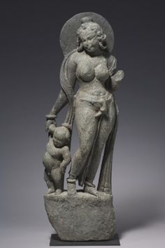Mother and Child (Matrika), 400s-500s India, Rajasthan, Tanesara-Mahadeva, Gupta Period, 5th-6th Century