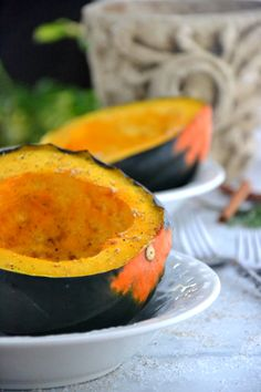 Honey Roasted Acorn Squash, nice and moist with almond milk and seasonings.